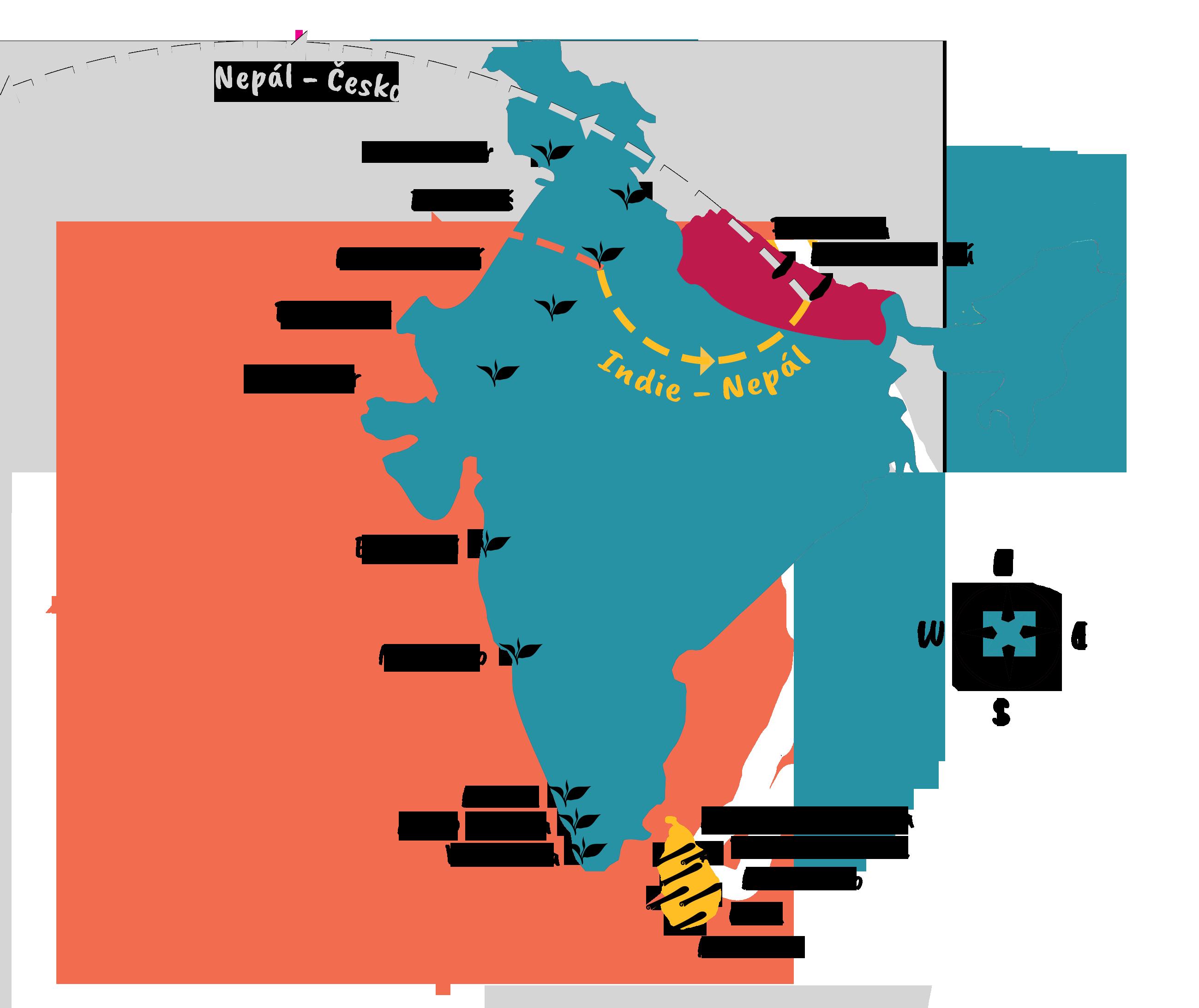 Mapa cesty poSrí Lance, Indii aNepálu